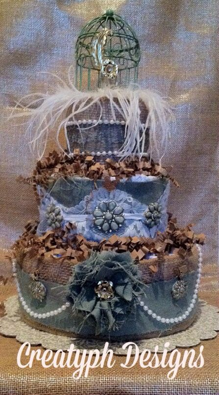 Three Tier Shabby Chic Diaper Cake. #CreatyphDesigns #Etsy #Facebook  https://www.etsy.com/listing/227235490/theee-tier-diaper-cake