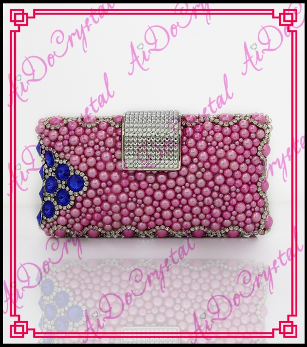 158.00$  Buy now - http://ali8mi.worldwells.pw/go.php?t=32673853498 - Aidocrystal Shining pink glitter clutch bag designer evening crystal with pearl