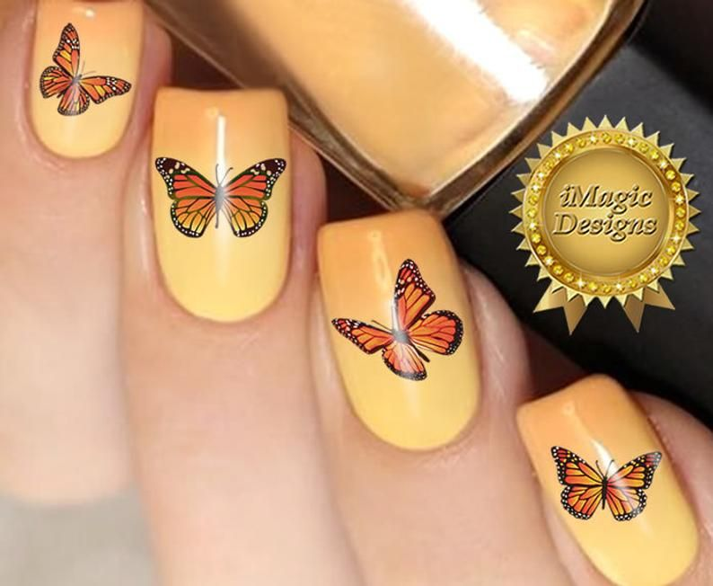 Waterslide Nail Decals Nail Art Stickers Monarch Butterfly Nail Tattoos In 2020 Butterfly Nail Art Butterfly Nail Nail Art Stickers