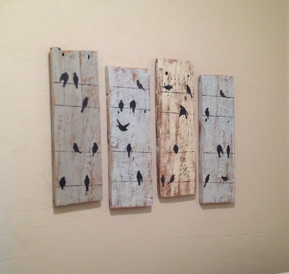 Birds On A Wire Rustic Wall Decor Reclaimed Barnwood Decor