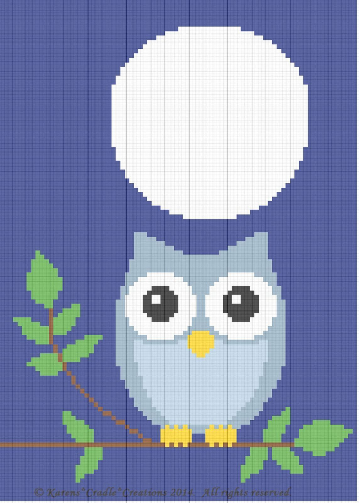 Crochet Patterns Owl At Night Baby Afghan Pattern Easy Beginner