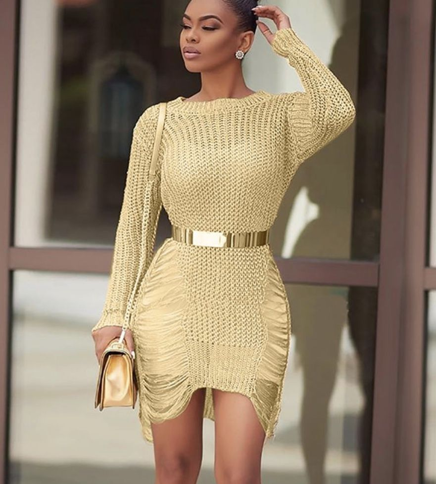 Elegant yellow glamour knitwear Bodycon dress By Vova nel 13