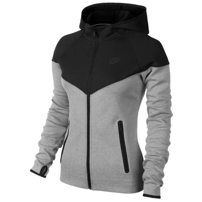 Dames Nike Tech Fleece Full Zip Hoodie - Zwart/Donker grijs ...