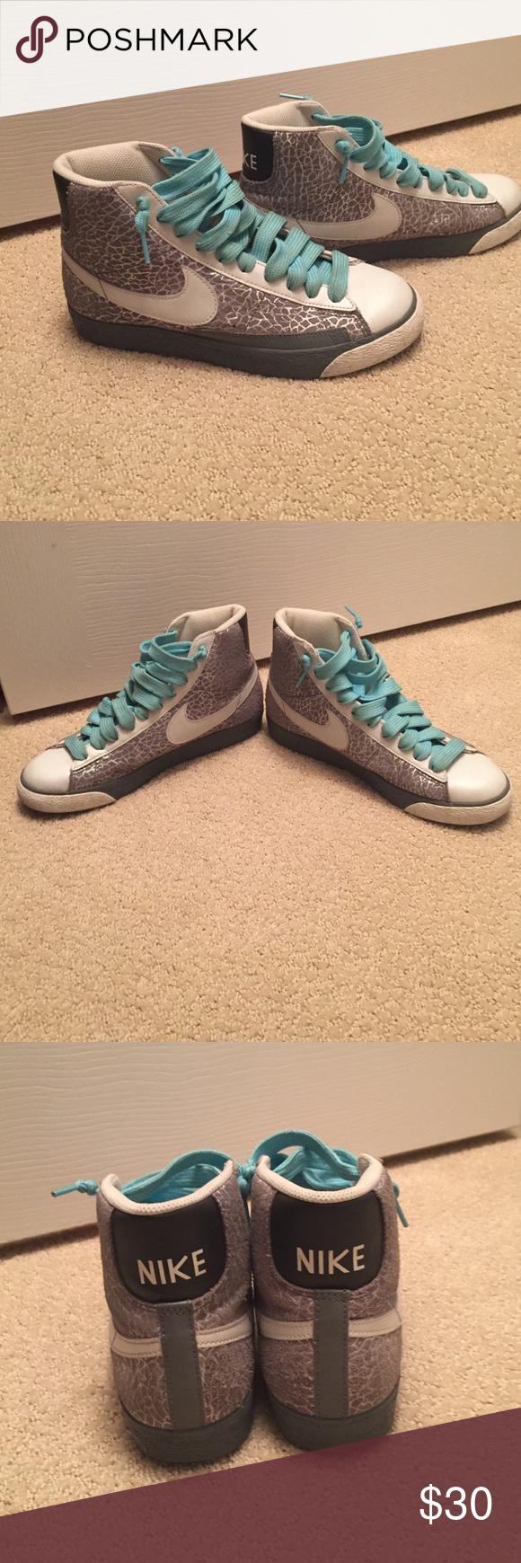 Nike blazer highs Snake print Nike blazer highs with light blue  TRAINING