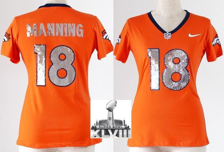 Women Nike Denver Broncos 18 Peyton Manning Orange Handwork Sequin  lettering Fashion 2014 Super Bowl XLVIII