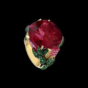 Yellow gold Rubellites Diamond Ring G34LR700 - Piaget Luxury Jewelry Online