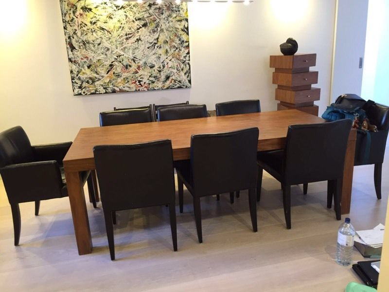 Wooden Dining Table With 8 Leather Chairs