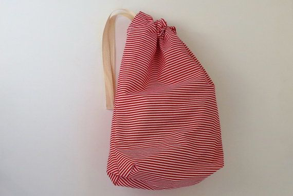 This Handy Red And White Drawstring Bag With Candy Stripes Is Ideal As An Easter Basket