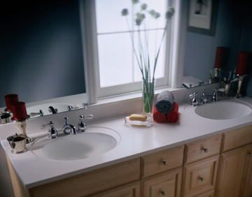 Double Ready To Install Vanity Top And Bowl In Corian Glacier White Bathroom Countertops Corian Countertops