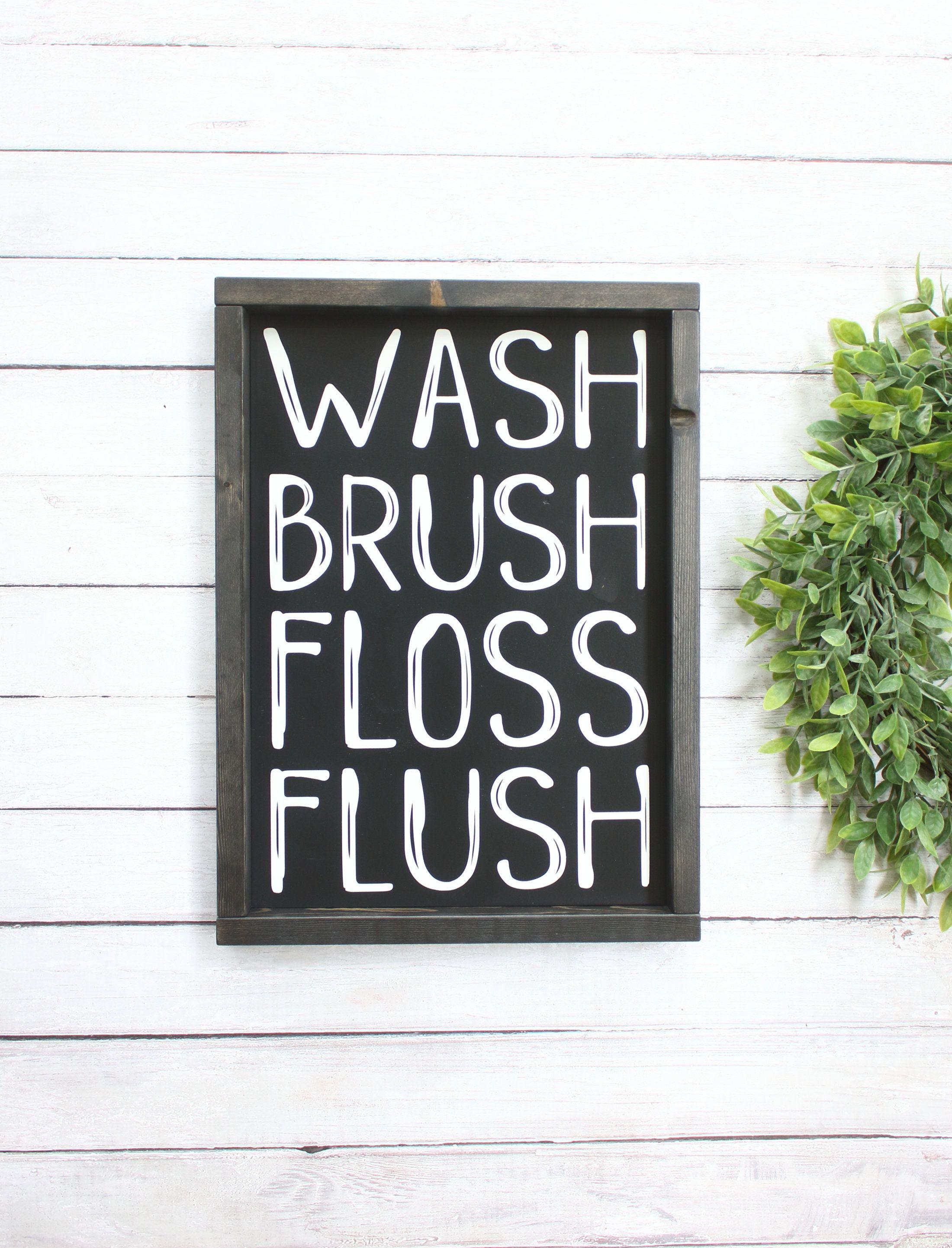 Photo of Bathroom Wall Decor – Farmhouse Bathroom – Wash Brush Floss Flush – Kids Bathroom Wall Decor – Bathroom Signs – Farmhouse Bathroom Signs