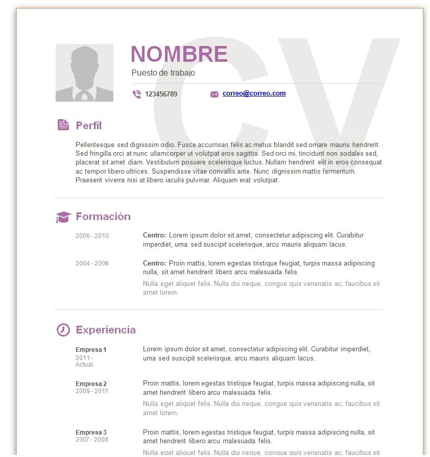 descargar plantillas de curriculum vitae para wordpad
