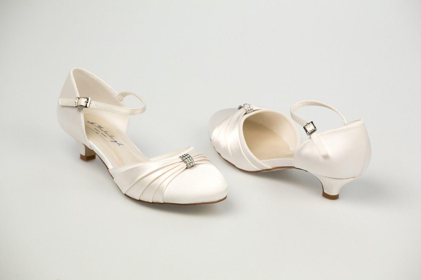Chaussures de mariée en satin Petit talon de 3 cm