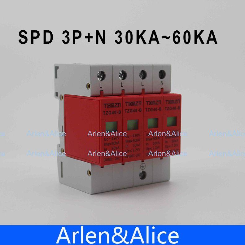SPD 3P+N 30KA~60KA B ~385VAC House Surge Protector Protective Low ...