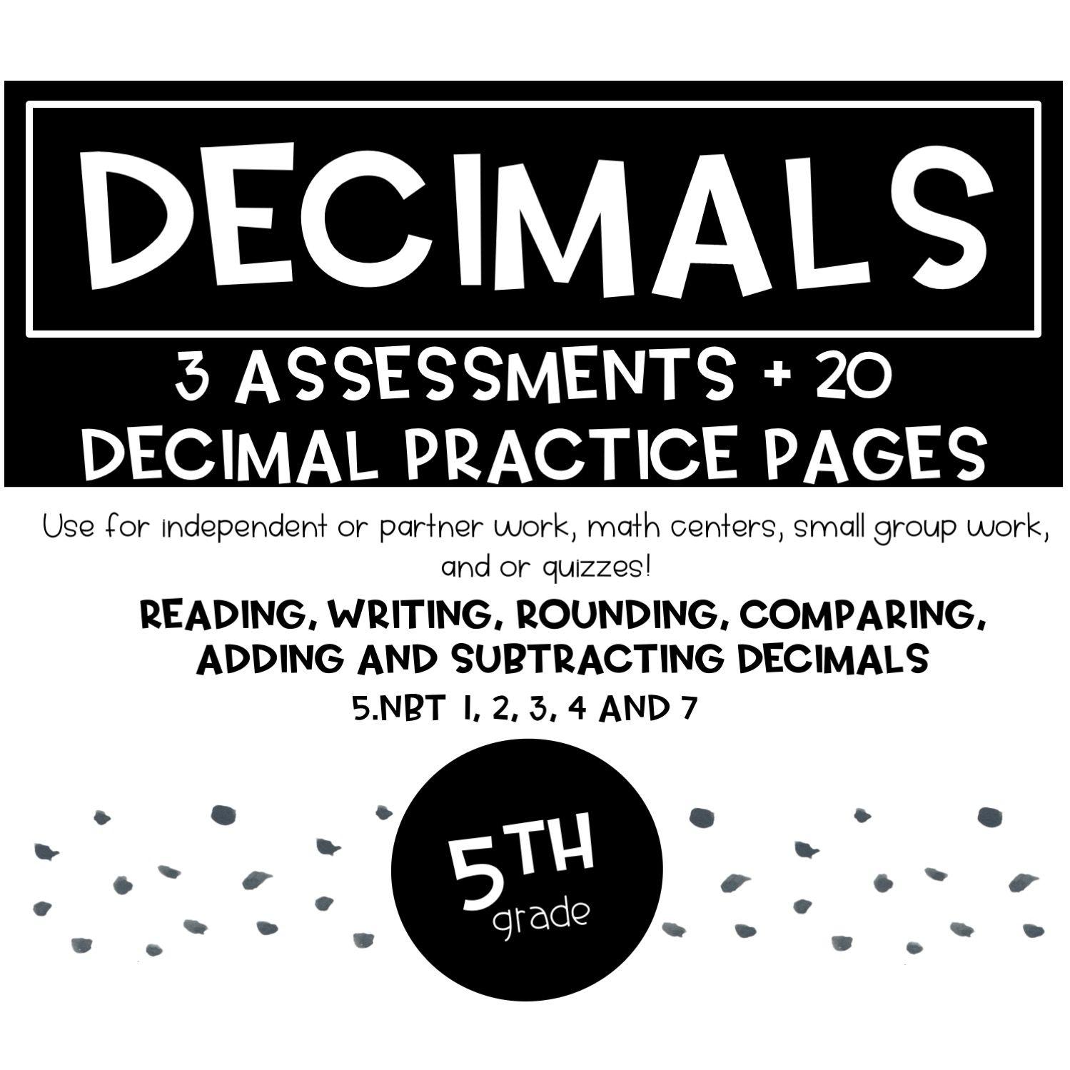 Decimal Worksheets And Assessments