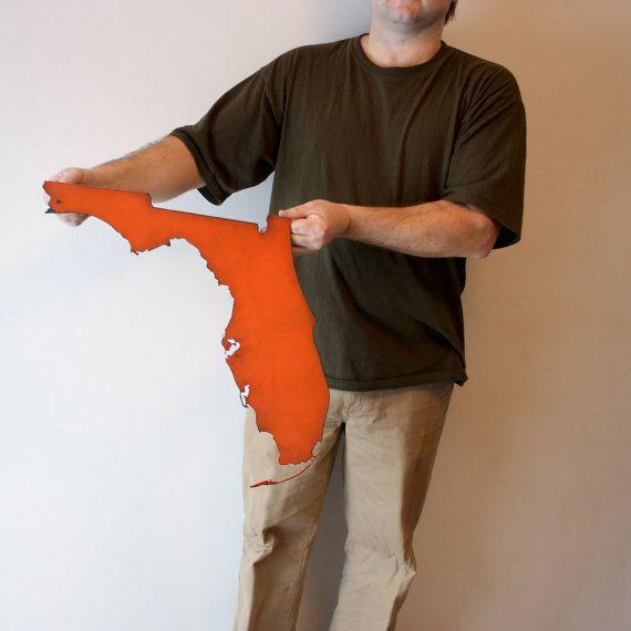 Florida Metal Wall Art Fl Decor Choose Your Color Usa State