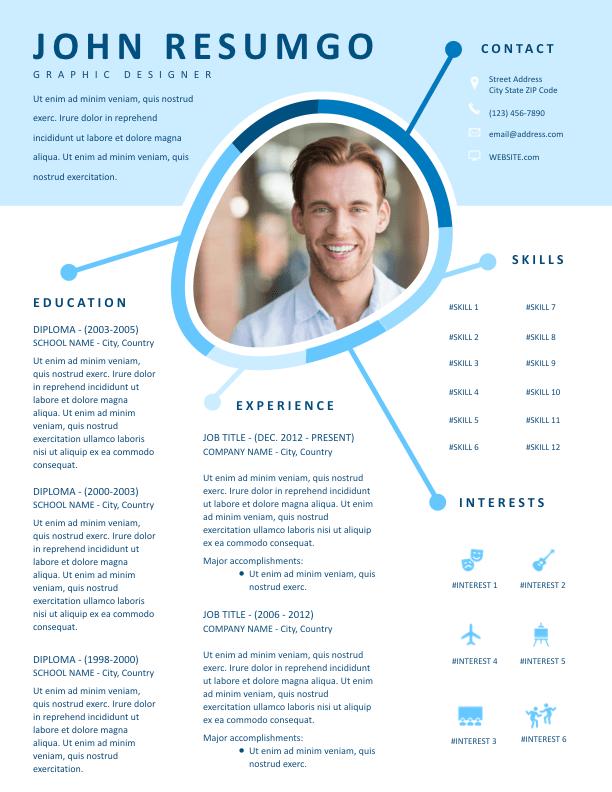 Iris Blue Creative Resume Template Resumgo Com Creative Resume Template Free Creative Resume Creative Resume Templates