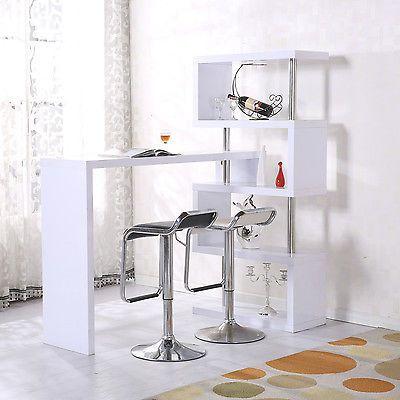 Homcom Bartheke Hausbar Raumteiler Regal Schreibtisch Bartisch Tisch Hochglanz
