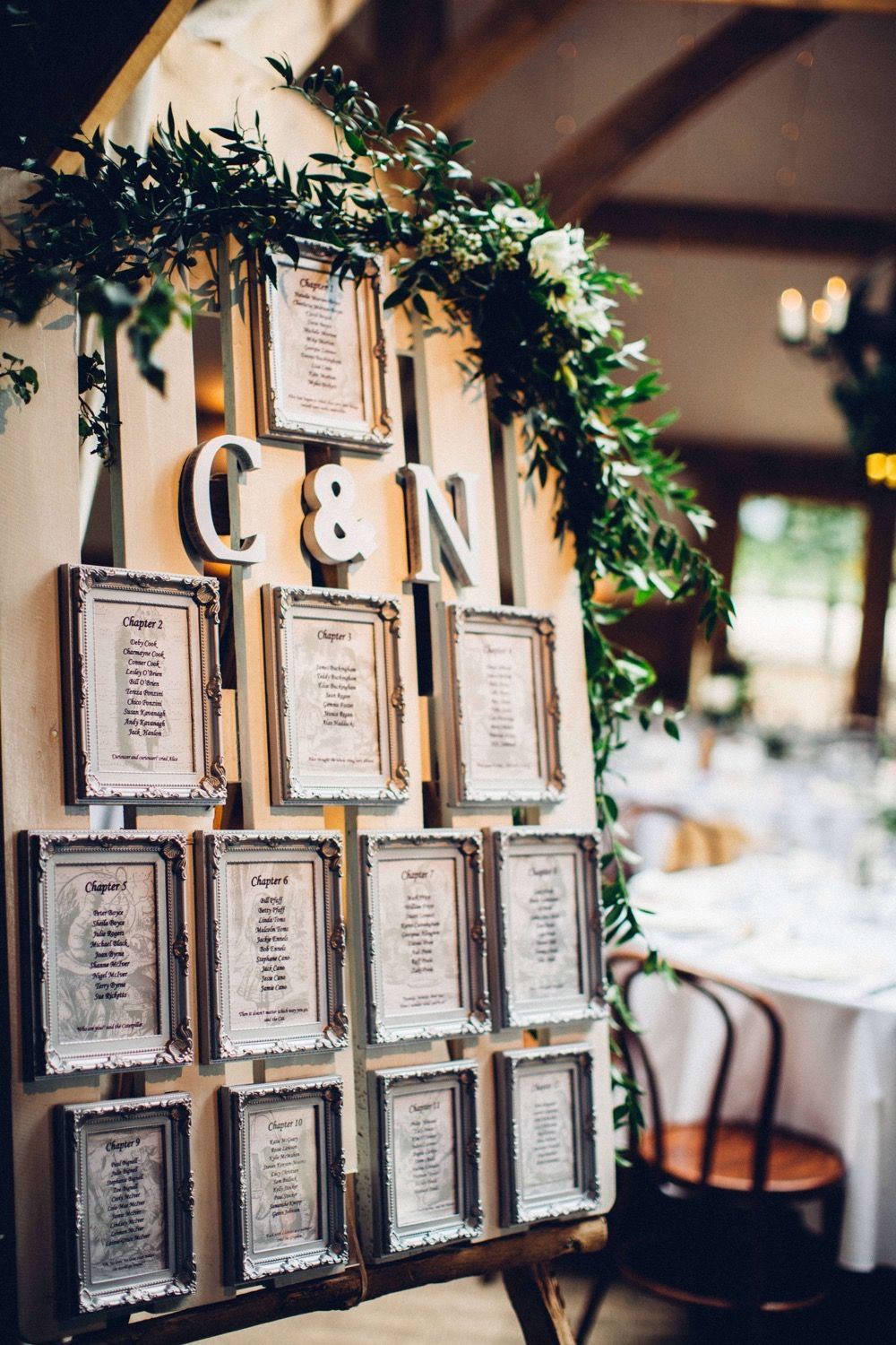 Wooden Crate & Ornate Frame Table Plan | Cripps Barn Wedding | Autumnal Colour Palette | Honeysuckle Flowers Lovestruck Photography | http://www.rockmywedding.co.uk/charlie-nat/