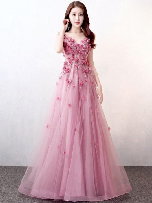 1fc370961a06 Chic Pink Prom Dress A-line V-neck Applique Modest Prom Dress Evening Dress  AM980