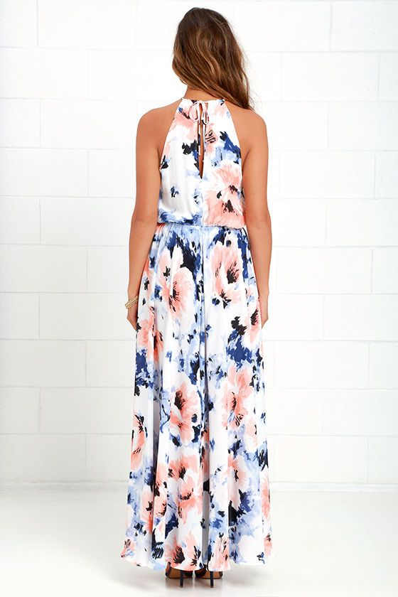 232c9cd50d7 The At Long Last Peach and Blue Floral Print Maxi Dress is a number we ve  been hoping would come our way! A painterly peach and blue floral print  travels ...