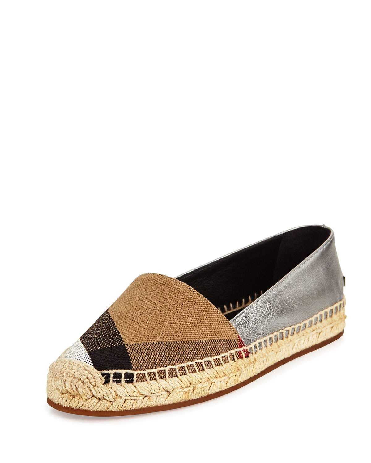 9556650b5 Burberry Hodgeson Check Canvas & Leather Espadrille Flat, Black/Silver