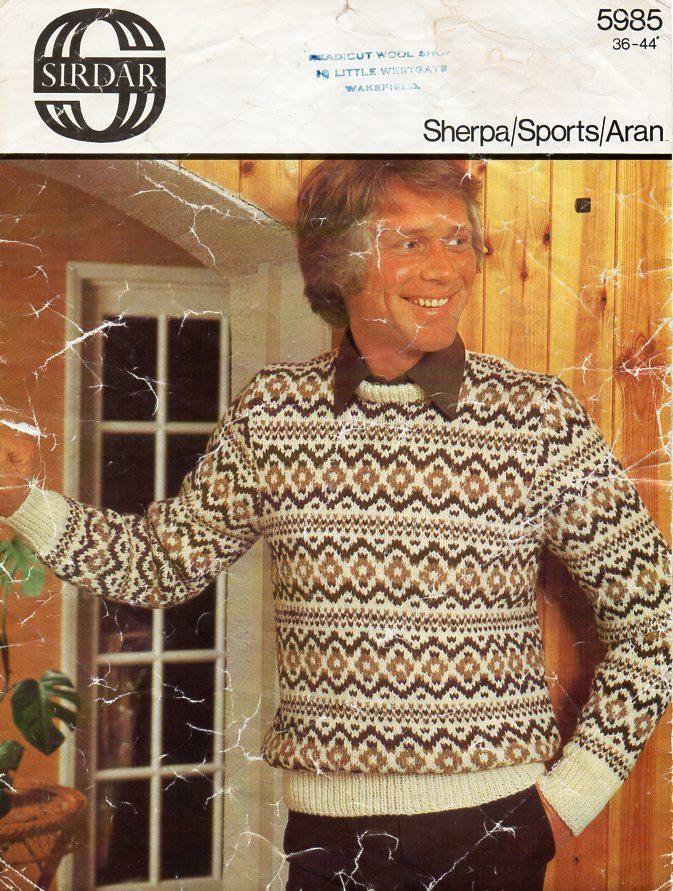 Vintage mens fair isle sweater knitting pattern PDF mens fair isle ...