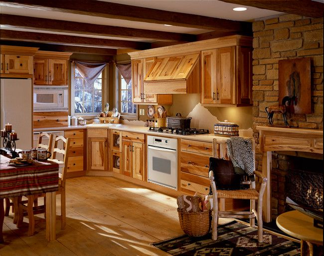 Mountain Hideaway Hickory Kitchen Cabinets Rustic Modern Kitchen Small Rustic Kitchens