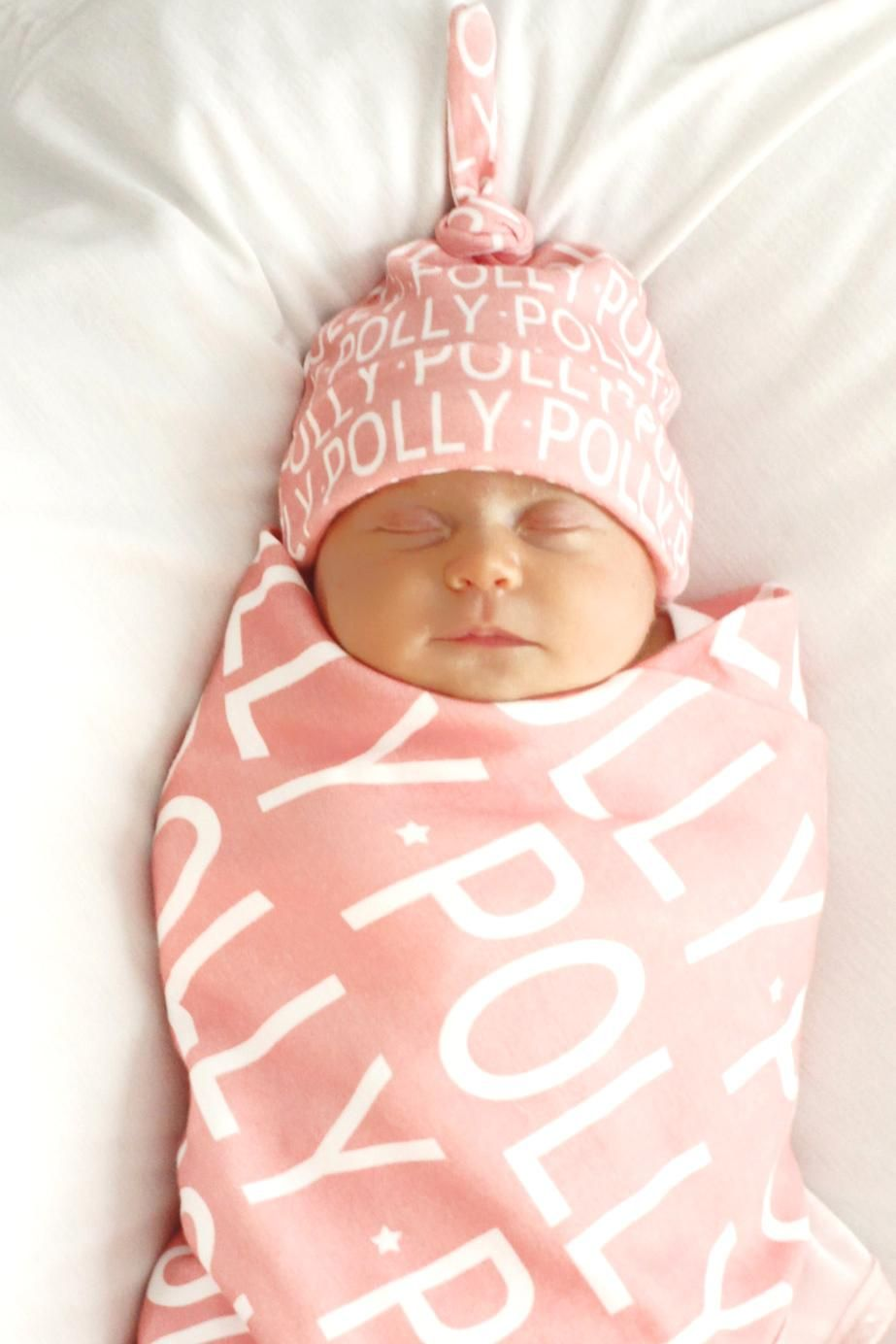 ec245875a Personalized baby blanket and hat set organic knit swaddle ...