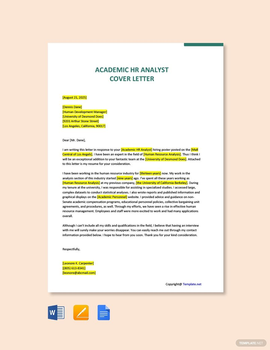 Academic Hr Analyst Cover Letter Template Free Pdf Word Apple Pages Google Docs Cover Letter Template Free Cover Letter Template Letter Templates