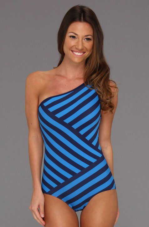 f4b3b028f8 Optical Illusion Swimsuits That'll Make You Look 10 Pounds Thinner DKNY  Chic Stripes Spliced One-Shoulder Maillot With Removable Soft Cups, $112,  zappos.com
