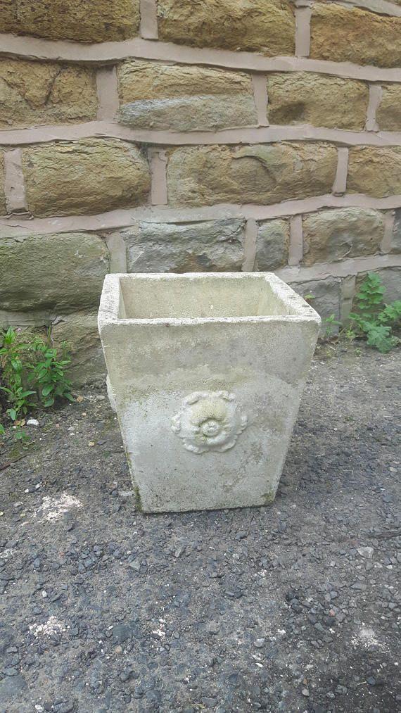 Vintage Antique Composite Cast Stone Garden Planter Plant Pot