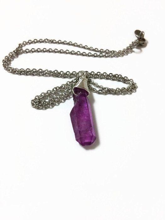 Purple Quartz Crystal Necklace Purple Crystal Quartz Pendant Necklace Quartz Point Crystal Necklace Purple Crystal Quartz Necklace (N74) by JulemiJewelry on Etsy