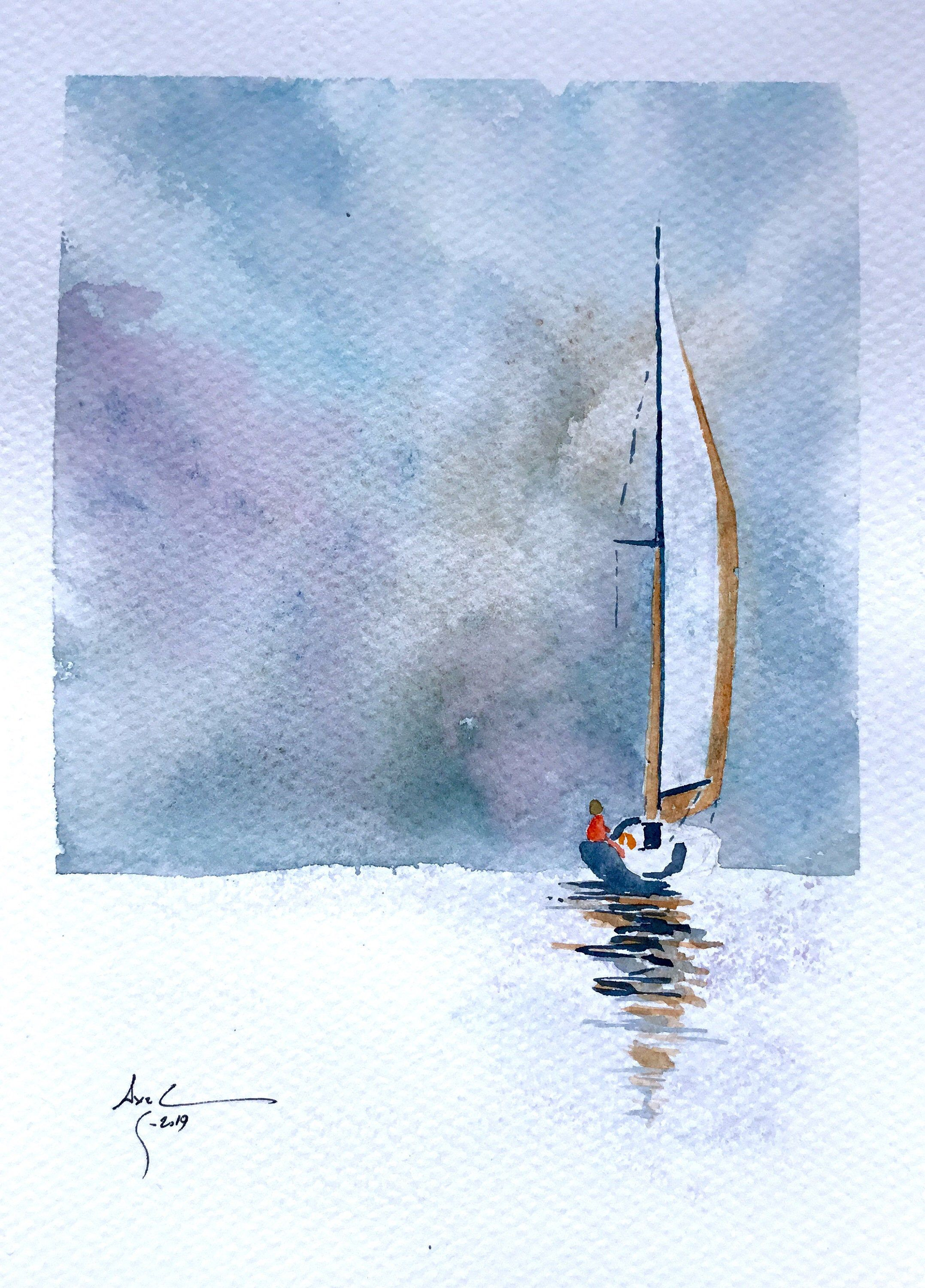 Aquarelle Originale Sail Away Voilier Original Watercolor