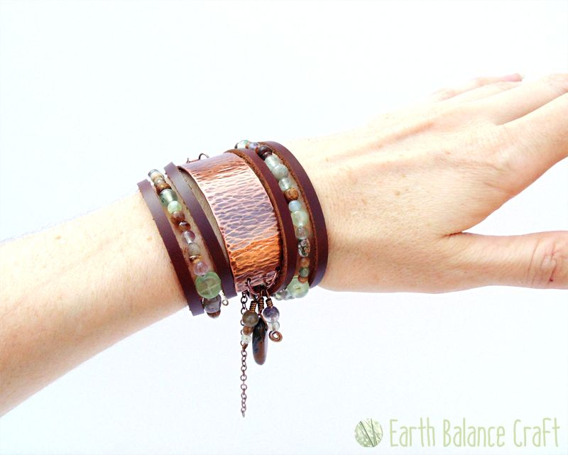 Seashore Treasure Wrap Bracelet - A rustic textured bracelet with copper, natural leather, wood, coconut and a variety of watery semi-precious gemstone beads.