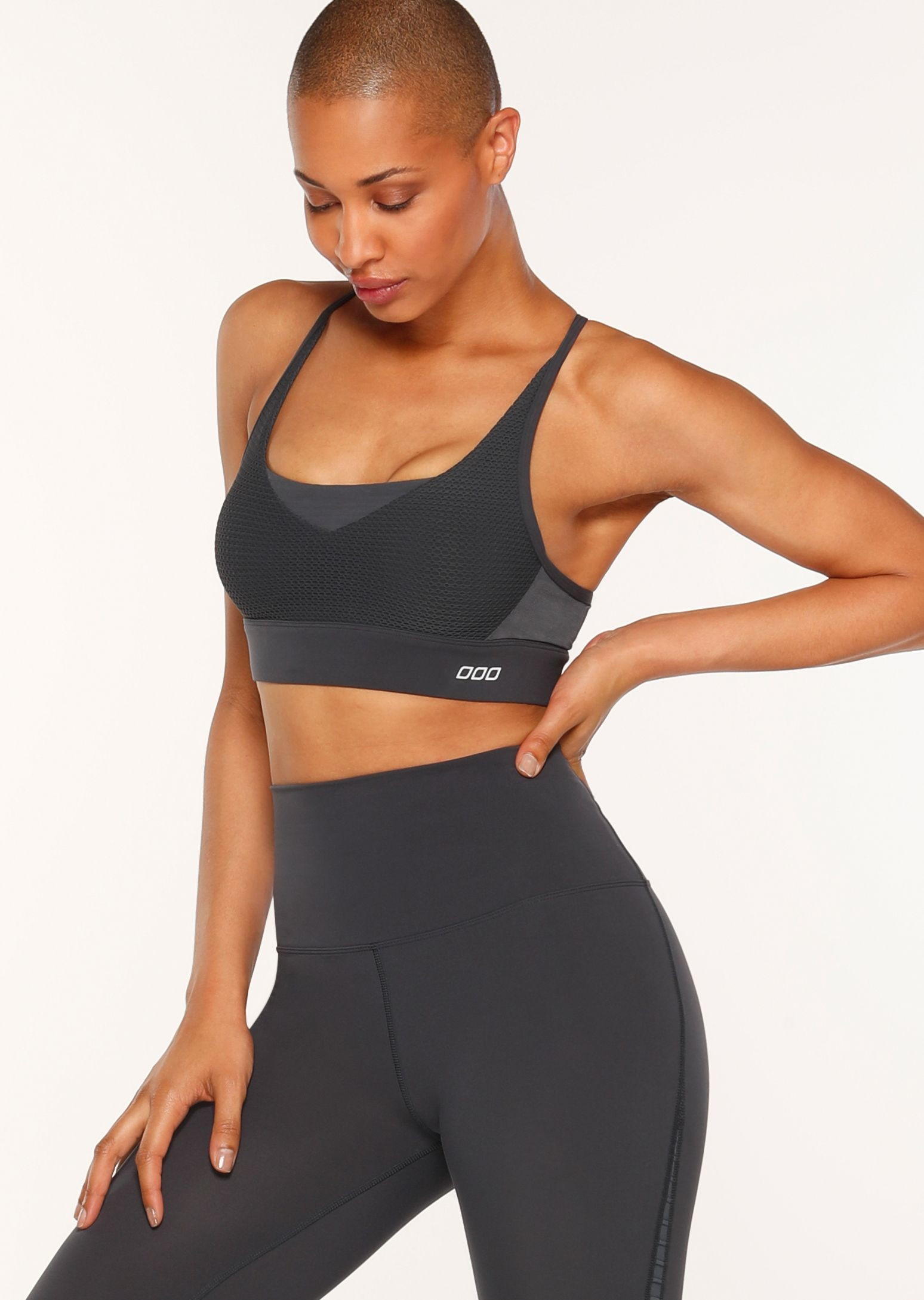 This maximum support sports bra features compressive