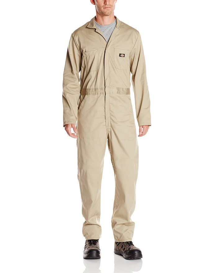 dickies men s basic cotton coverall khaki small regular on dickies coveralls id=34411