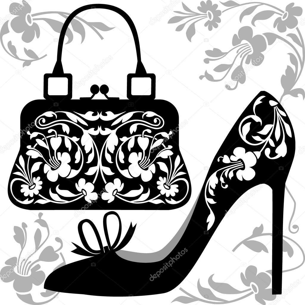 Zapato Bolso Negras De Con Mujeres Y Siluetas El OrnamentosSobre I6fYbgy7v