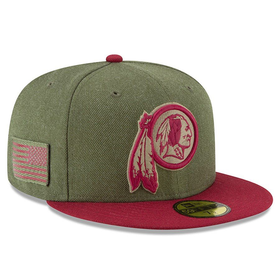 Men s Washington Redskins New Era Olive Burgundy 2018 Salute to Service  Sideline 59FIFTY Fitted f1e5624a2