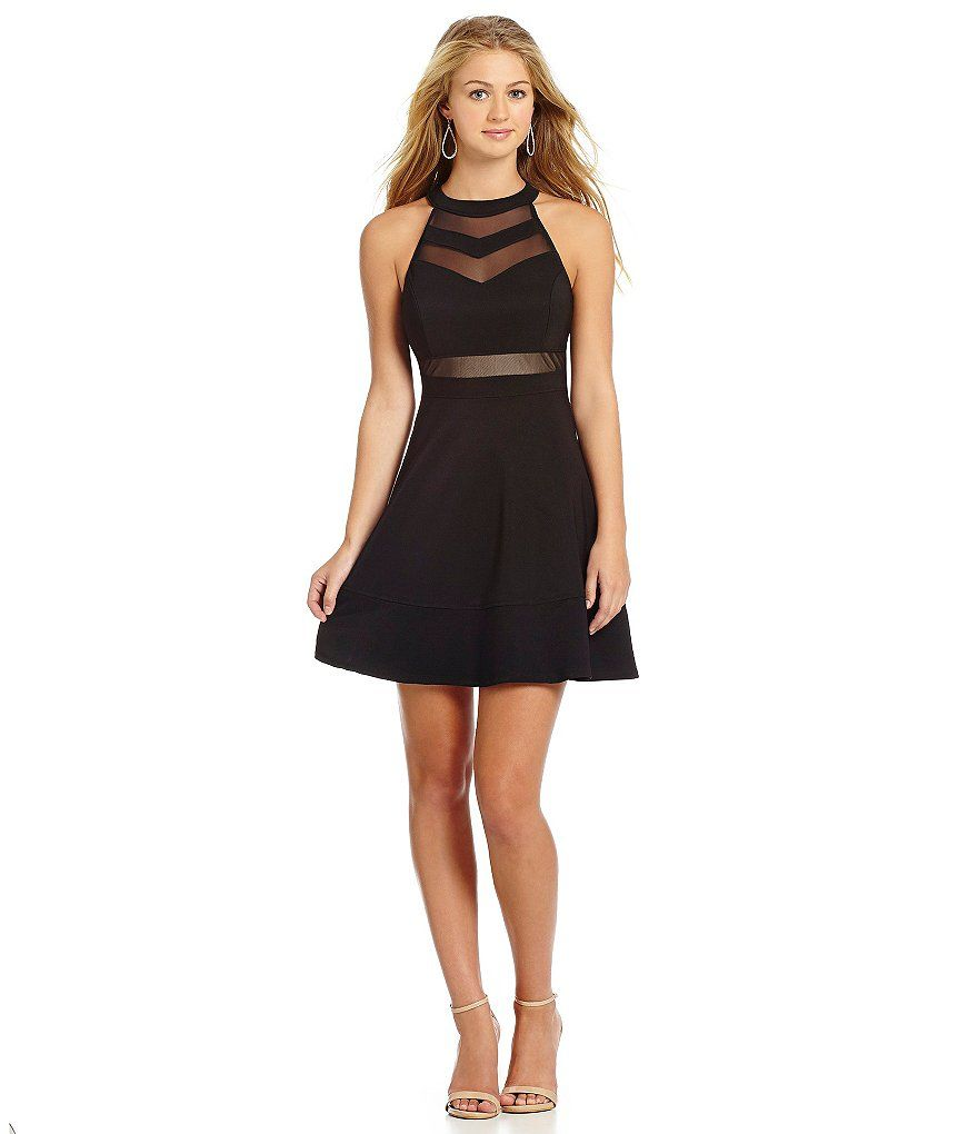 Honey and Rosie Sleeveless High-Neckline Illusion Skater Dress ...