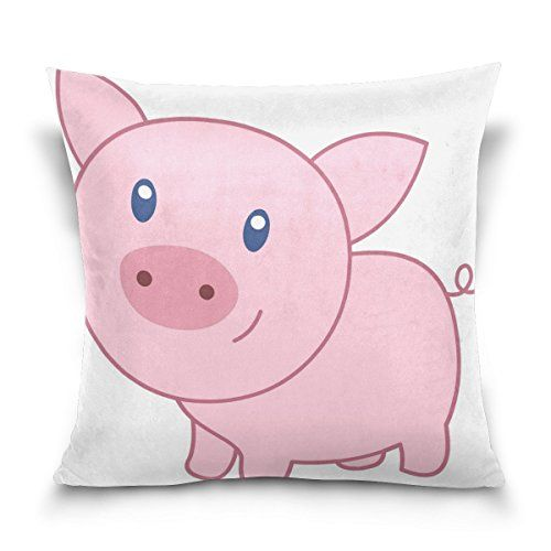 Cotton Velvet Decorative Square Throw Pillow Cover Pillowcase Cushion Cover 20x20 InchesPink Pig on Both Sides -- You can find out more details at the link of the image.