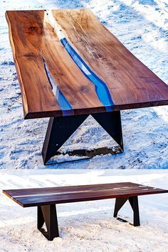 Dining Table Made Of Solid Wood And Epoxy Resin Legs