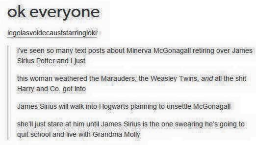 McGonagall is stronger than the fandom gives her credit for. She can totally deal with anything the next generation of Potters can throw at her.