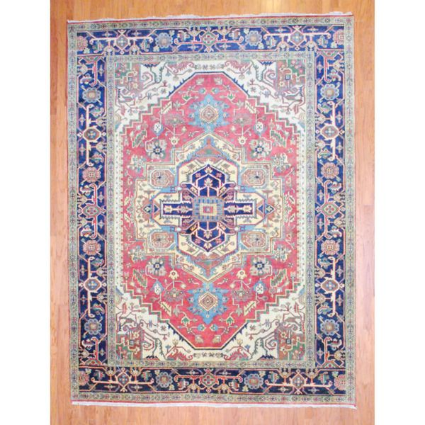 Herat Oriental Indo Hand Knotted Heriz Red Navy Wool Rug X