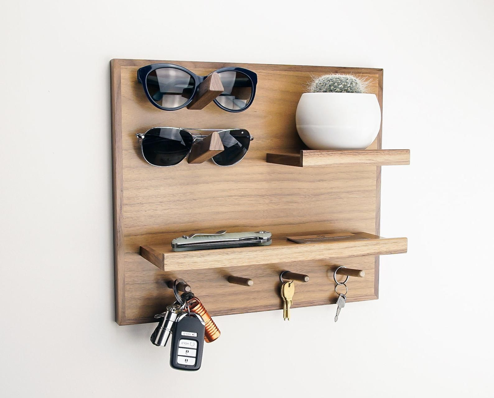 Walnut Entryway Organizer Wall Storage For Wallet Phone Image 0 Small Entryway Organization Entryway Organizer Wall Wall Storage