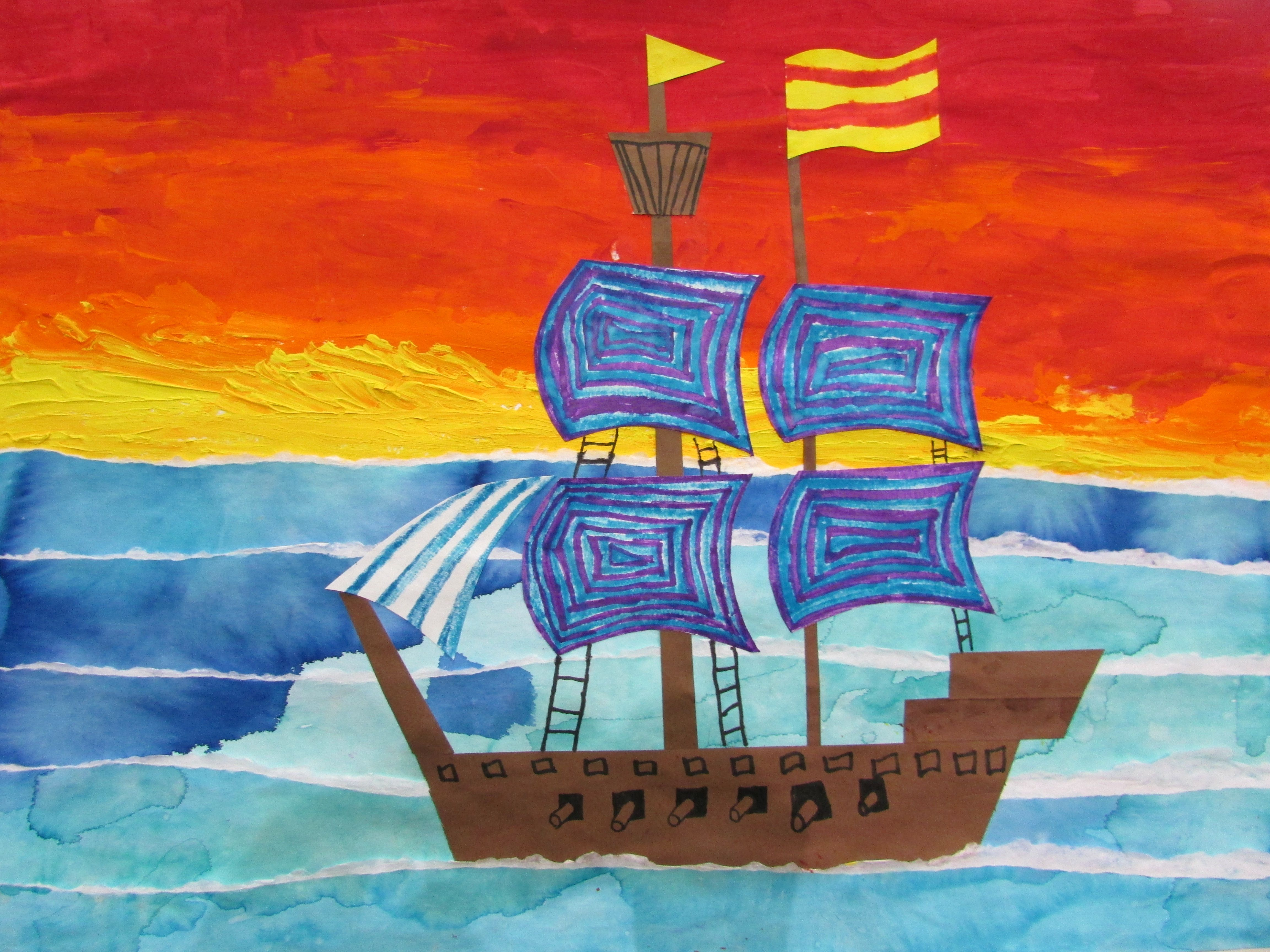 4th grade pirate ship painting approx 22