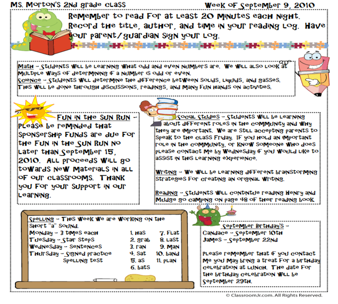 Free Teacher Newsletter Templates Downloads | Fayetteville State ...