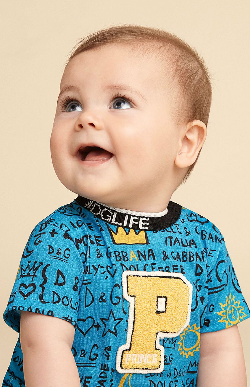 d0d02a60 Dolce Gabbana Baby Boys Blue DG Life Graffiti Prince Outfit for Summer  2018. #dgbaby #dglife #dolcegabbana #baby #fashion #kidsfashion