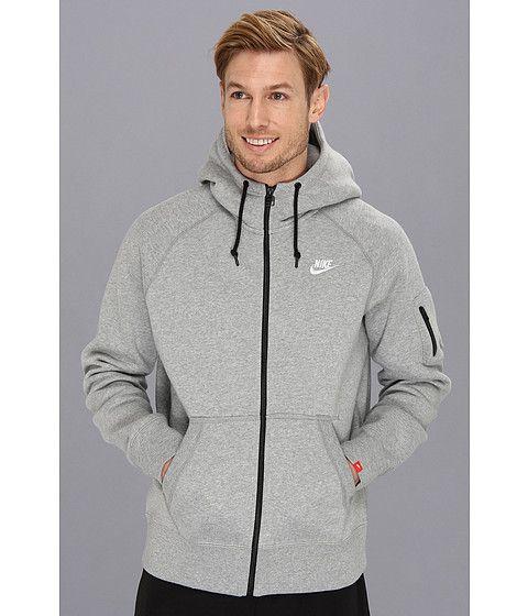 later new high website for discount Nike AW77 Fleece FZ Hoodie Dark Grey Heather/White - Zappos ...
