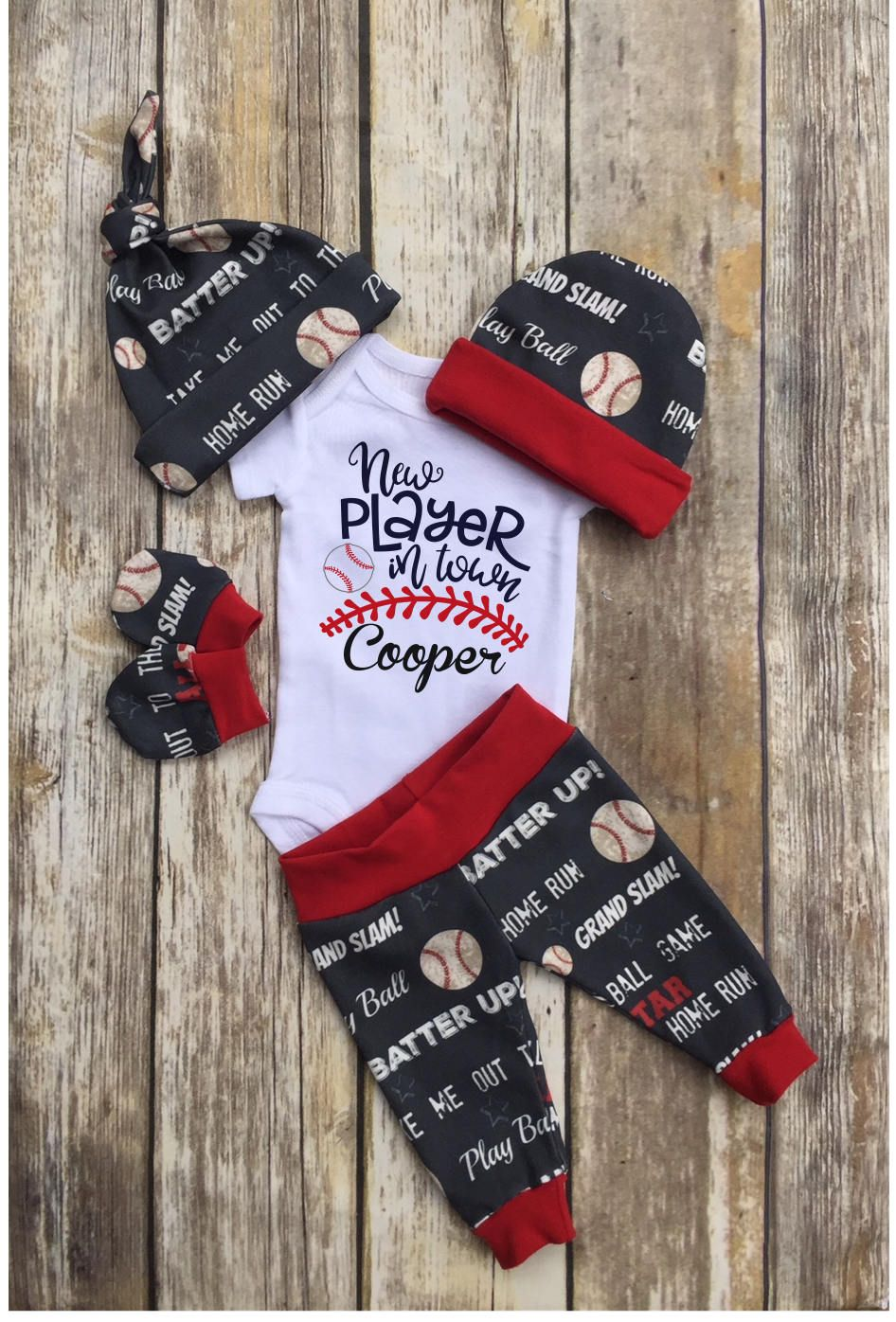 Photo of Baby Boy Coming Home Outfit, Baseball Personalized Baby Boy Outfit, Navy Red Take Home Newborn Outfit, Retro Baby Boy Layette and Hat Set