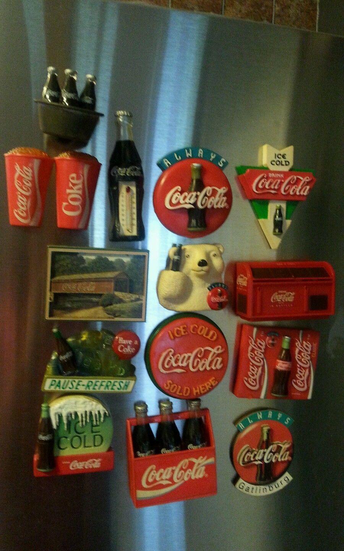 Lot VTG15COKE Coca Cola Refrigerator Freezer Old Magnets | eBay